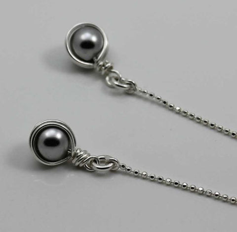 threader earrings in grey