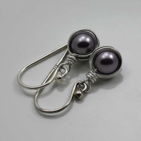 Mauve Swarovski Pearl Earrings