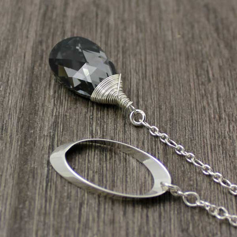 teardrop Swarovski lariat - silver night