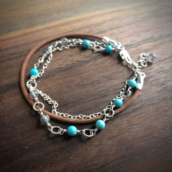 Layered Turquoise Leather Bracelet