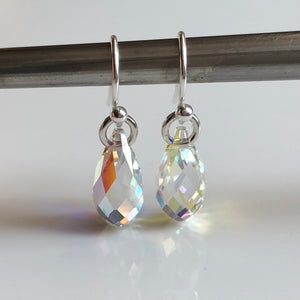 teardrop earrings - clear AB