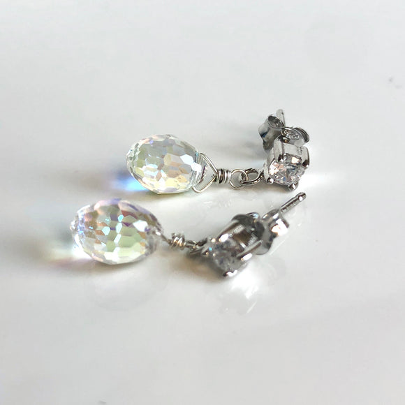 crystal drop stud earrings - aurora borealis