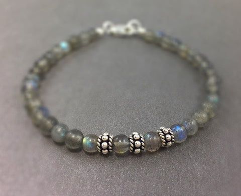 Stackable Rainbow labradorite bracelet