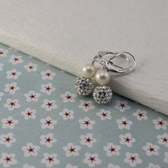 pearl sparkling earrings