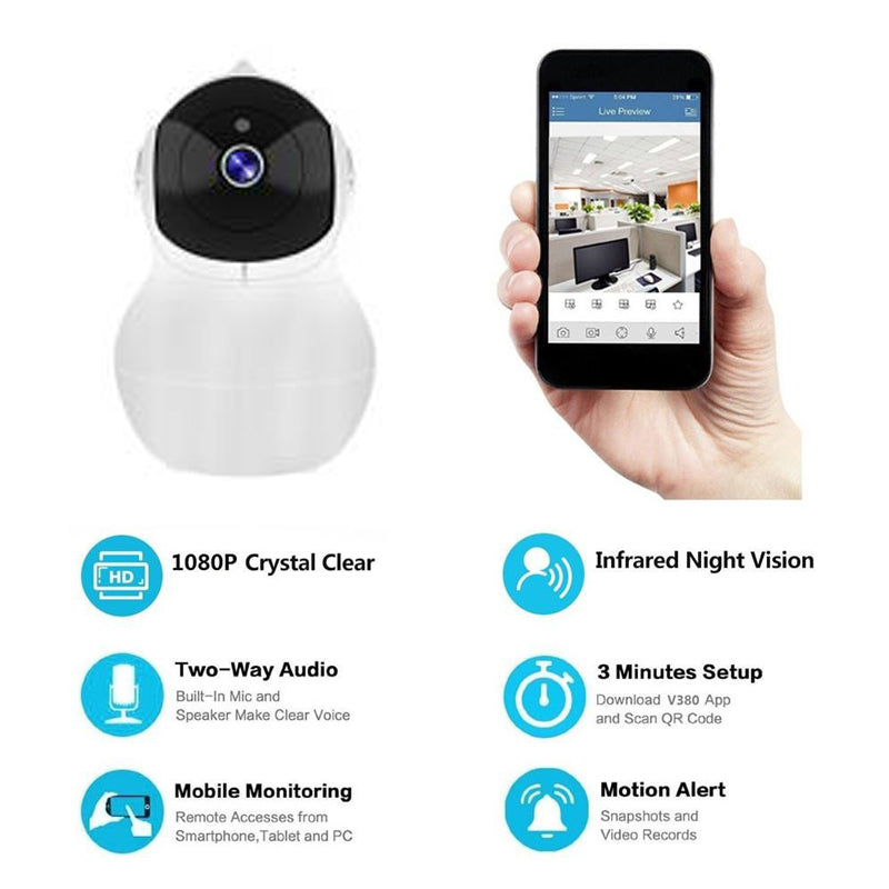 360 Smart Camera 1080P Plus, Wireless CCTV Security, Home Network, WIFI  Surveillance Indoor Camera with Night Vision