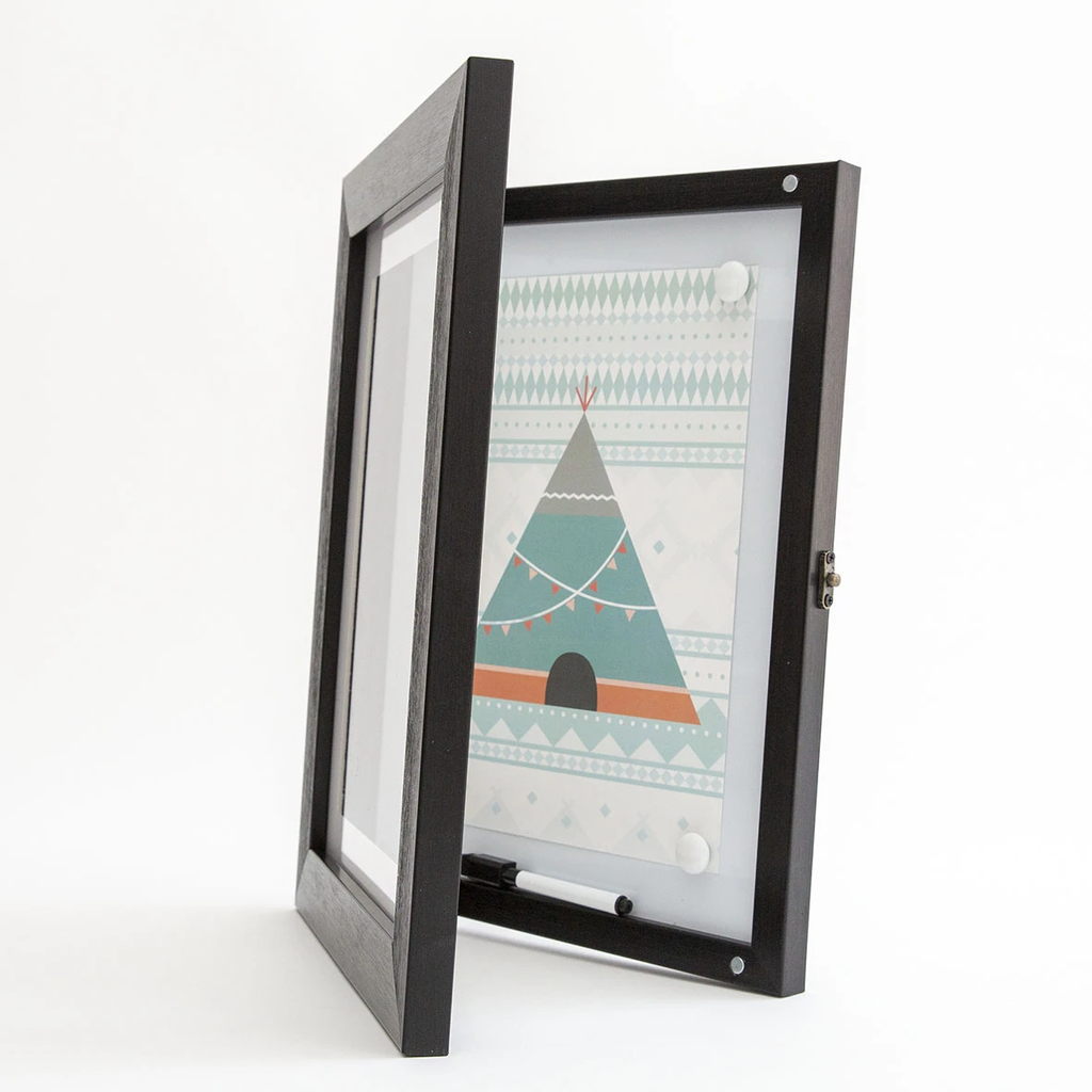 Front Opening Picture Frame with a Magnetic Whiteboard inside- Black