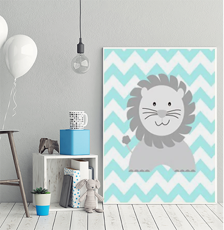 Cheeky Animal Canvas Print (Blue) - Leo