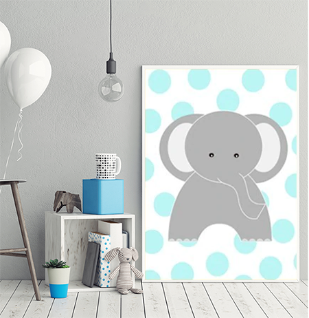 Cheeky Animal  Canvas Print (Blue) - Ella