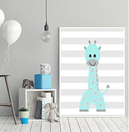 Cheeky Animal Canvas Print (Blue) - Jordan