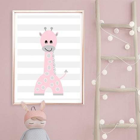Cheeky Animal Canvas Print (Pink) - Jordan