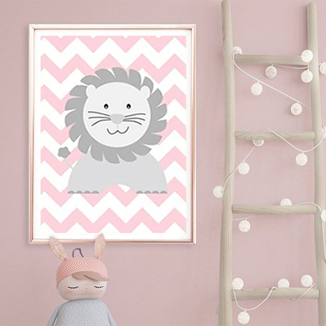 Cheeky Animal Canvas Print (Pink) - Leo