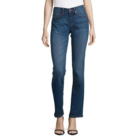 Mid-Rise Straight Leg Jeans