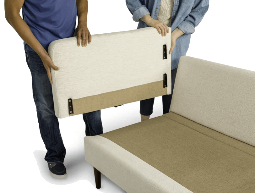 Flat-packed sofa for fast delivery. No tools required for easy assembly.