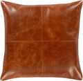 Surya Barrington Leather Throw Pillow in Burnt Orange