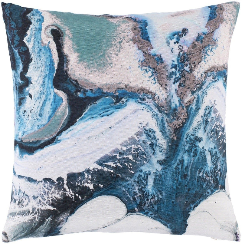Surya Ebru Throw Pillow in Emerald