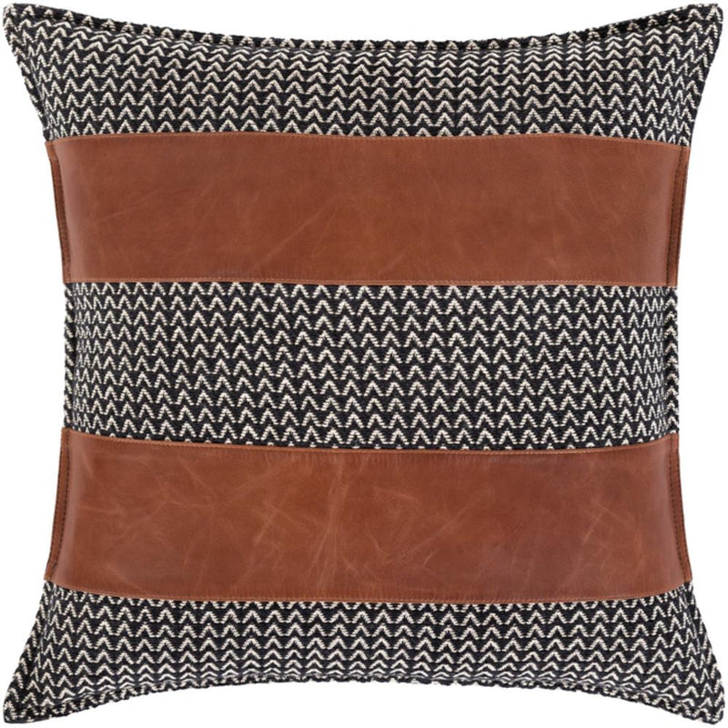 Surya Fiona Leather Throw Pillow in Black