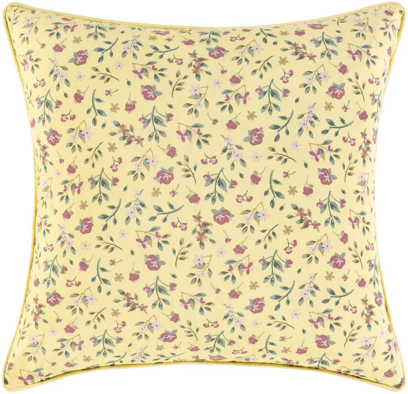 Surya Floret Throw Pillow in Khaki