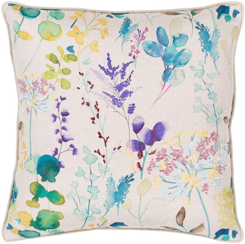 Surya Florissant Throw Pillow in Bright Yellow