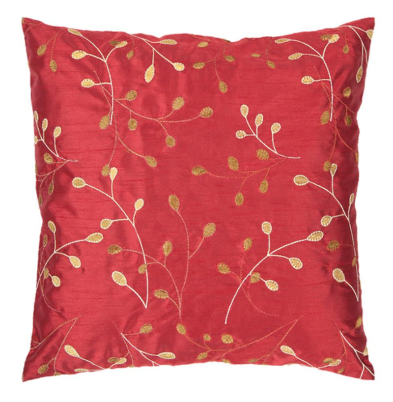Surya Blossom II Throw Pillow in Bright Red