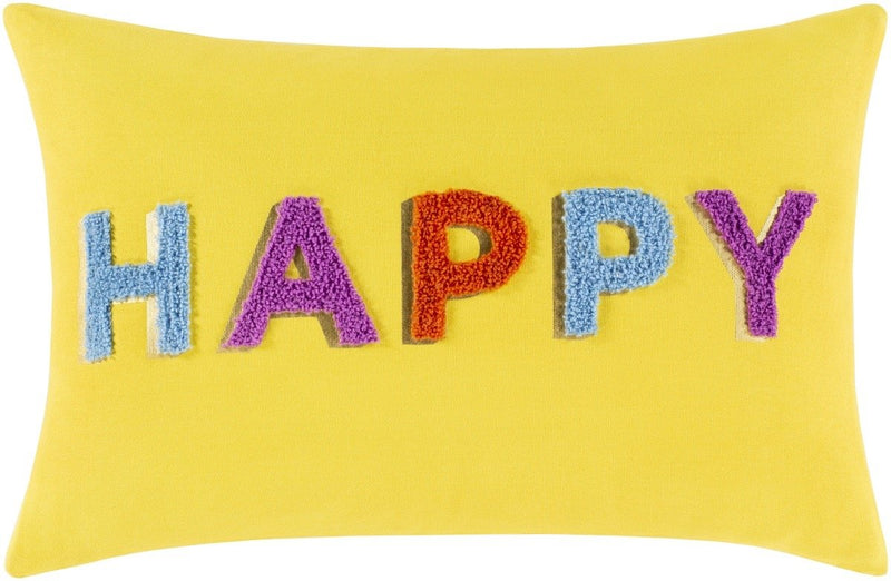 Surya Happy Throw Pillow in Bright Yellow