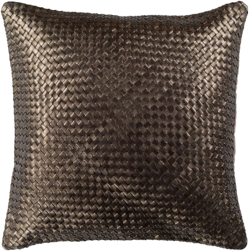 Surya Kenzie Leather Throw Pillow in Dark Brown