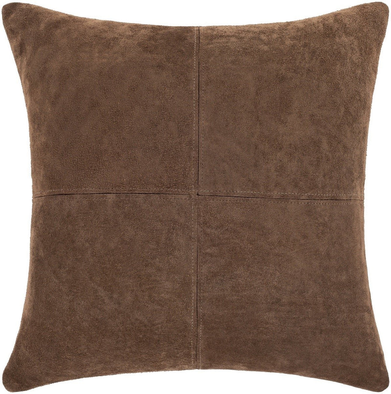Surya Manitou Leather Throw Pillow in Camel