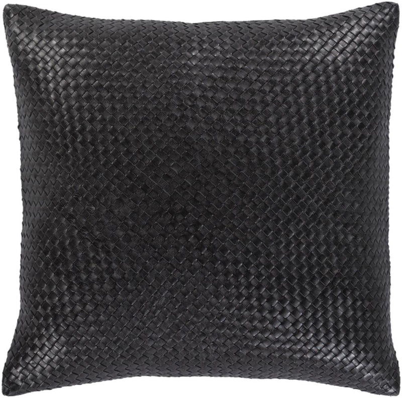 Surya Onyx Leather Throw Pillow in Black