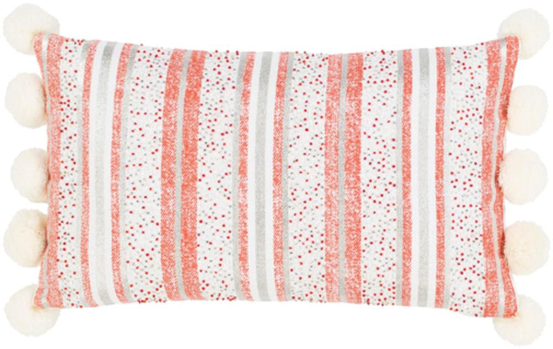 Surya Peppermint Throw Pillow in Bright Orange
