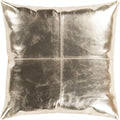 Surya Ritz Leather Throw Pillow in Metallic - Champagne