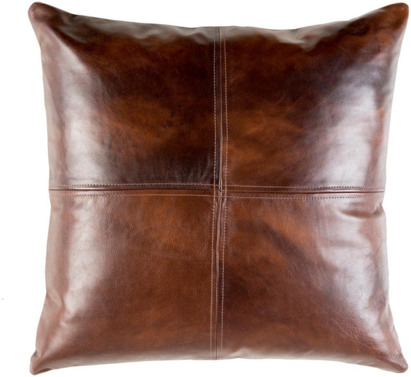 Surya Sheffield Leather Throw Pillow in Dark Brown