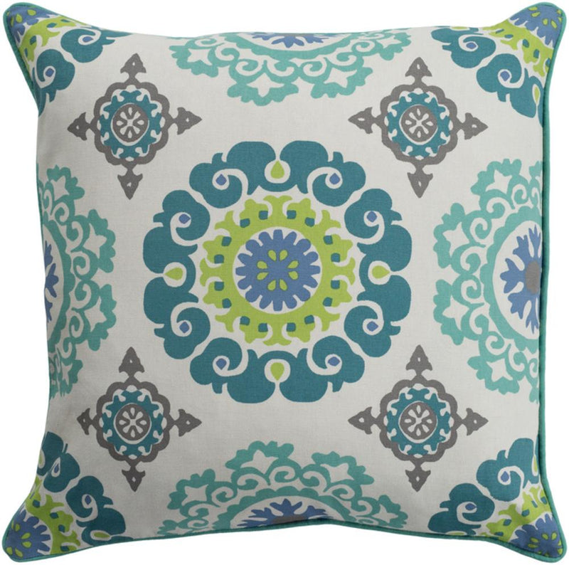 Surya Technicolor Throw Pillow in Teal