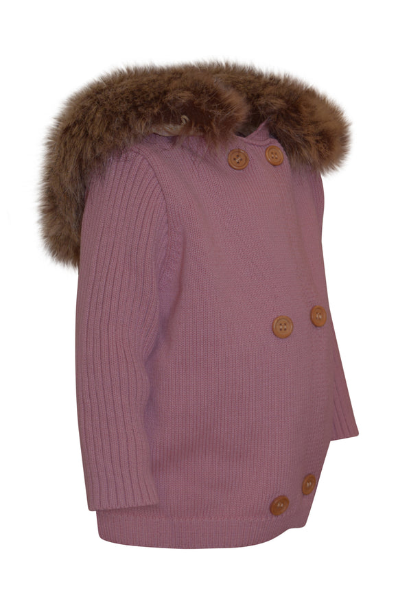 KNIT BABY HOODIES (REMOVABLE FUR)- MAUVE