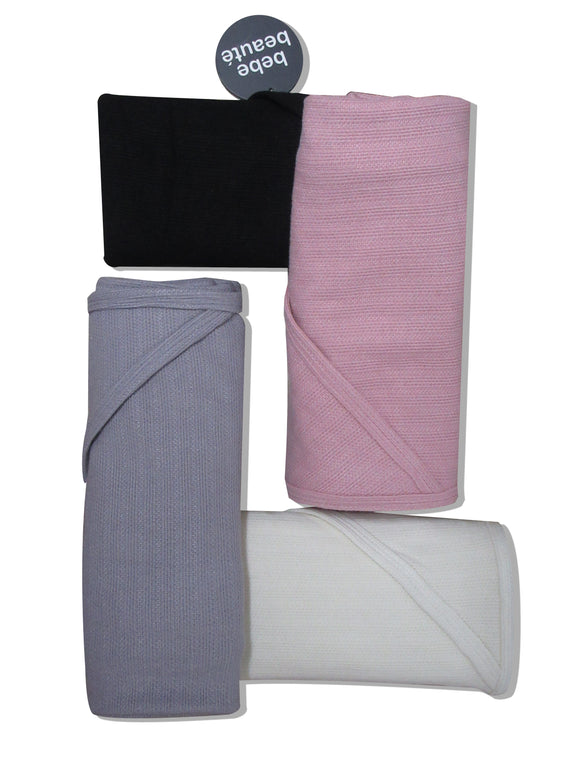 BEBE BEAUTE FINE KNIT RIBBED RECEIVING BLANKETS