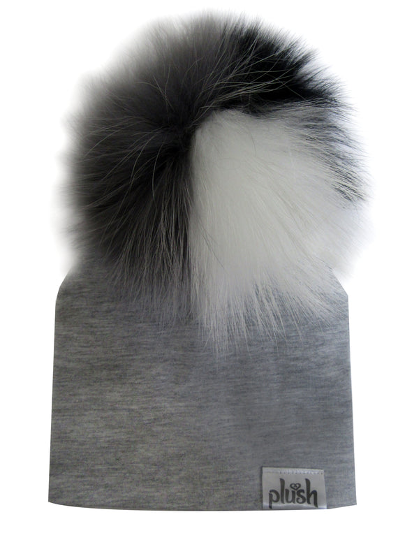 PLUSH COTTON HAT WITH DETACHABLE POMPOM-HEATHER GREY/BLACK/WHITE