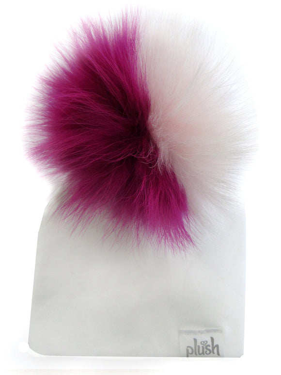 PLUSH COTTON HAT WITH DETACHABLE POMPOM- WHITE/JAZZBERRY JAM