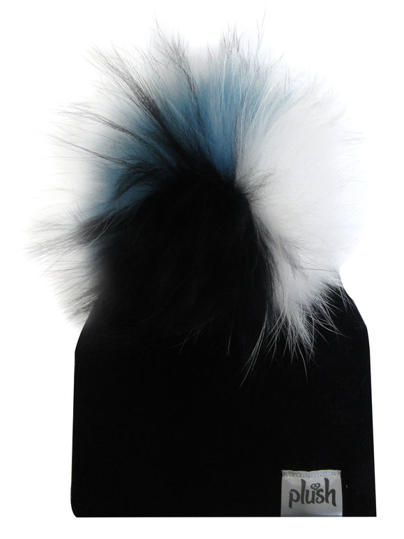 PLUSH COTTON HAT WITH DETACHABLE POMPOM-BLACK/WHITE/TURQUOISE
