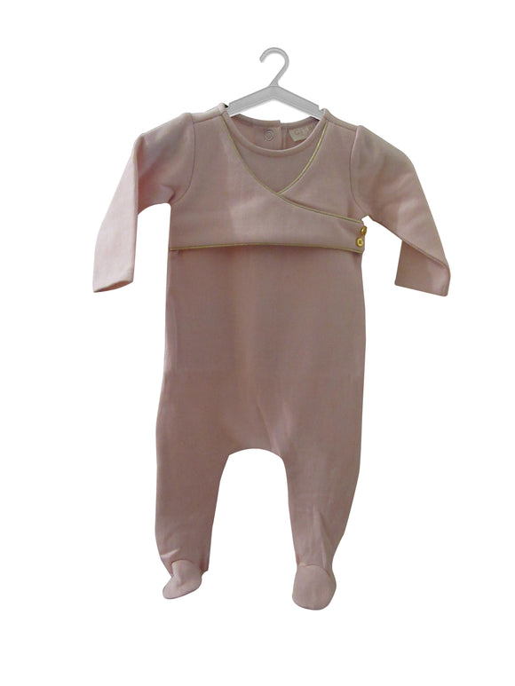 PINK_BABY_GIRL_CROSSOVER_STRETCHIES_FOOTIES_WITH_GOLD_TRIM_KALEIDO_KIDS