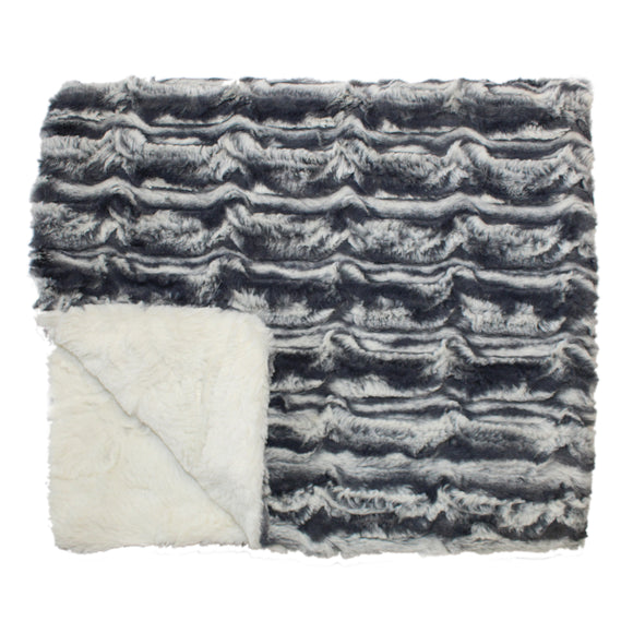 PLUSH BABY BLANKET- LAPIN CHARCOAL AND IVORY