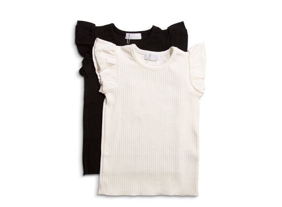 JB LONDON WIDE RIBBED T-SHIRT SLEEVELESS WITH FRILL