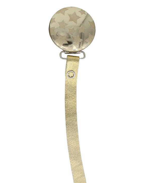 CRYSTAL DREAM METALLIC STARS PACIFIER CLIP- GOLD