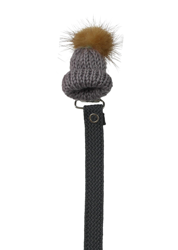 CRYSTAL DREAM KNIT HAT WITH REAL MINK FUR POM POM PACIFIER CLIP- GREY