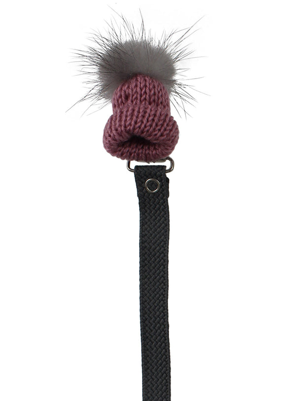 CRYSTAL DREAM KNIT HAT WITH REAL MINK FUR POM POM PACIFIER CLIP- MAUVE
