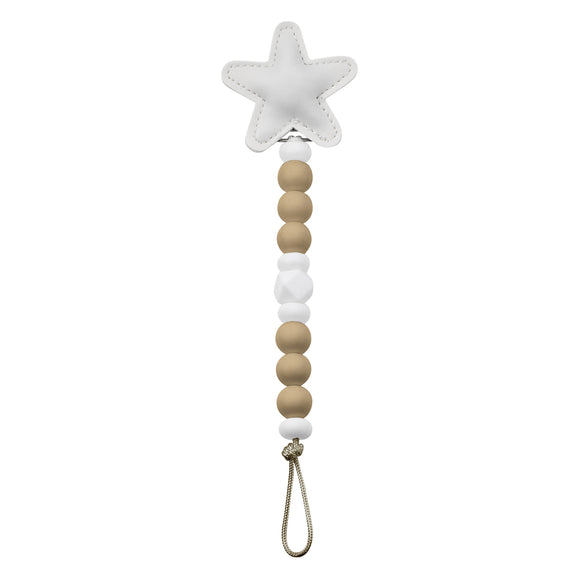 CRYSTAL DREAM PASTEL STAR SILI-CLIP TEETHER- OATMEAL