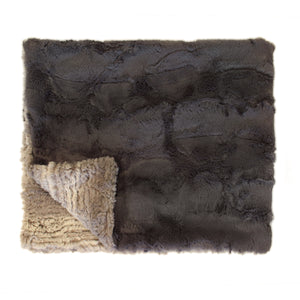 PLUSH BABY BLANKET- LUXE CHARCOAL AND BIRCH