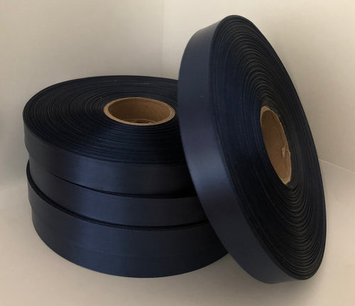 15mm x 100m French Navy Polysatin