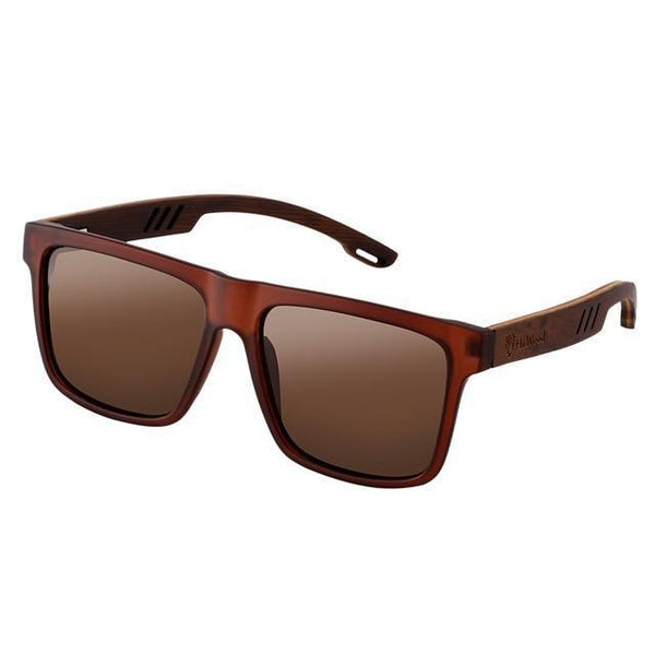 WOOD GLASSES WOOD SUNGLASSES Brown Hu Wood 029 High Quality Polarized Square Bamboo Sunglasses for Men