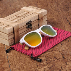 WOOD GLASSES WOOD SUNGLASSES Gold Bobo bird G07 Rectangular Oversized Bamboo Wood Polarized Sunglasses
