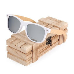 WOOD GLASSES WOOD SUNGLASSES Silver Bobo bird G07 Rectangular Oversized Bamboo Wood Polarized Sunglasses