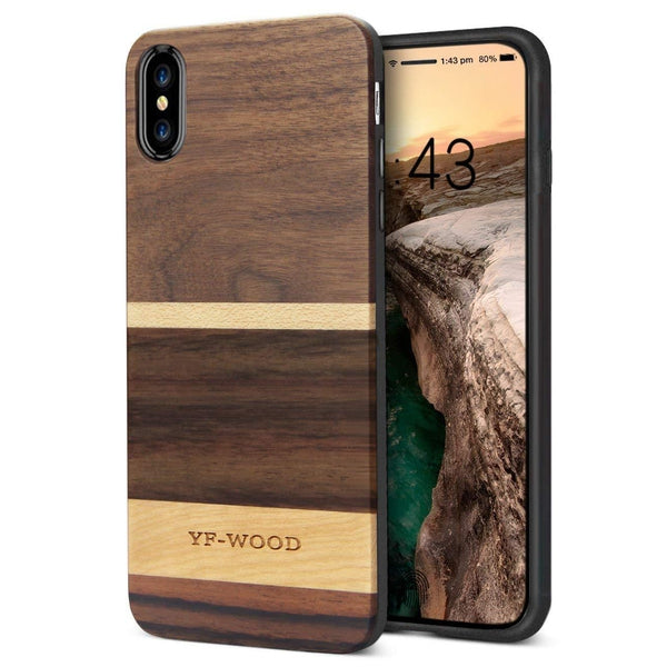 WOOD PHONE CASE WOODEN iPHONE CASE Walnut Maple 5 / for iPhone X YFWOOD Real Wood Case for iPhone X 10 Best Wooden iPhone Covers