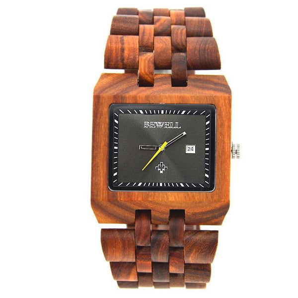 WOOD WATCH ALL WOODEN WATCHES Bewell 017A Rectangle Mens Luxury Quartz All Wooden Wristwatch